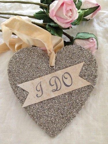 Handcrafted I do Silver Glass Glitter Heart Vintage Velvet Ribbon Wedding Shower   eBay