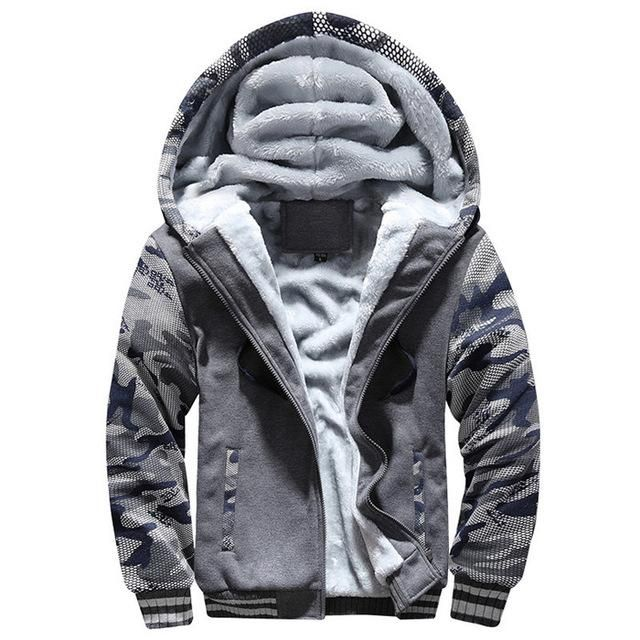 de63d9b0e20 Fur Fleece Men Camouflage Set Winter Brand Warm Hooded Hoodies 2018 Jacket  Cardigan Tracksuit Male 2 PCS Jacket+Pants Patchwork