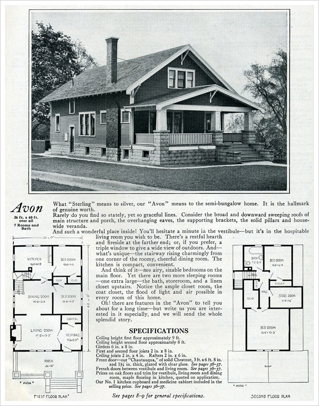 Bennett Homes Avon Kit House 1920 Bungalow Craftsman Bungalow House Plans Craftsman House Bungalow House Plans