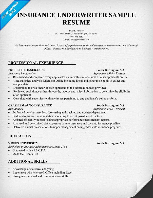 Insurance Underwriter Resume Sample Resume Samples Across All - insurance resume example
