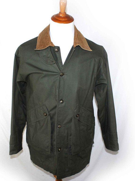 Vintage Mens Coat Eddie Bauer Green Coat Corduroy Collar Barn Coat
