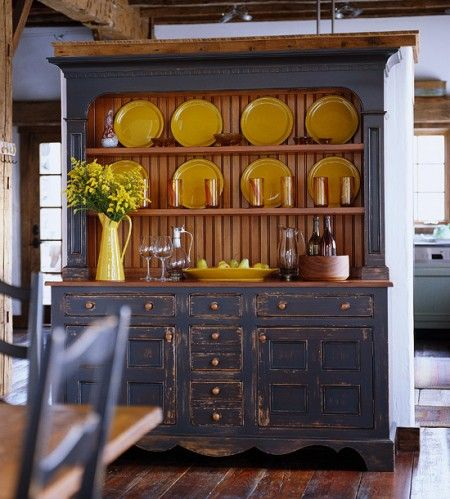 Blue Hutch With Yellow China