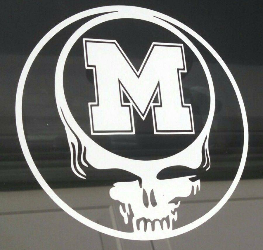 Grateful dead decal michigan university die cut vinyl sticker car window decal