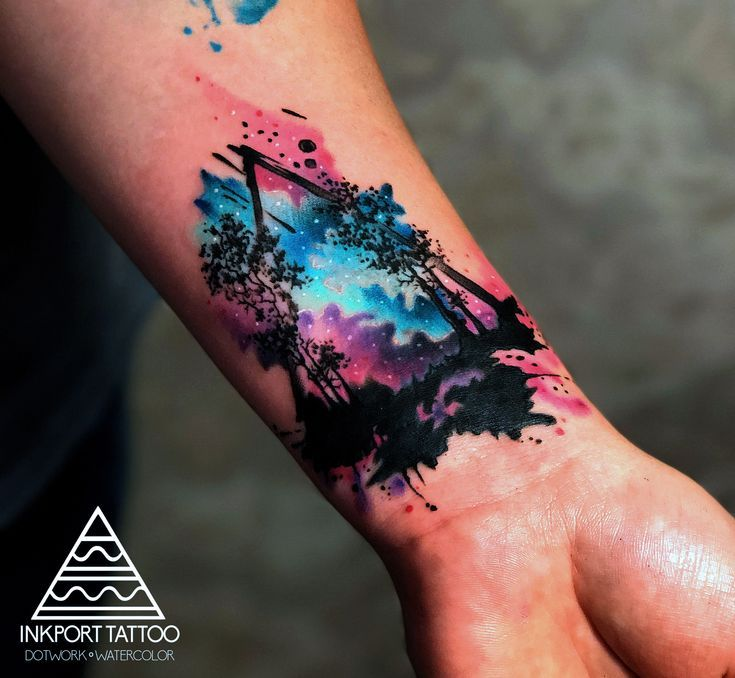 Aquarell-Tattoo auf dem Unterarm von John D. Addario #forearmtattoos