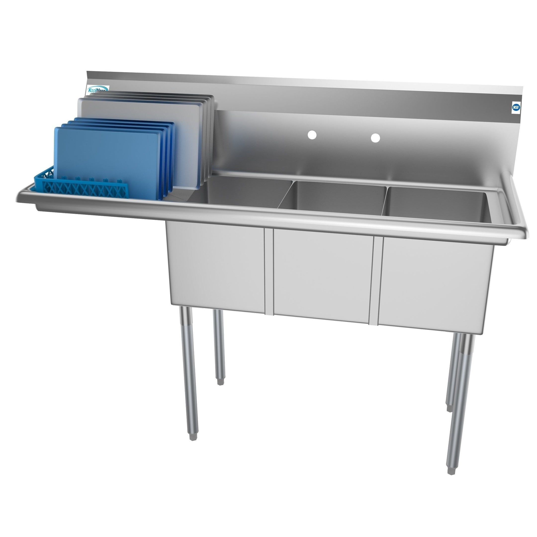 KoolMore 55Inch Three Compartment Stainless Steel
