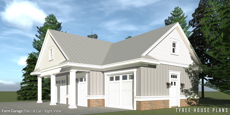 4 Car Farmhouse Garage. Tyree House Plans. House plans