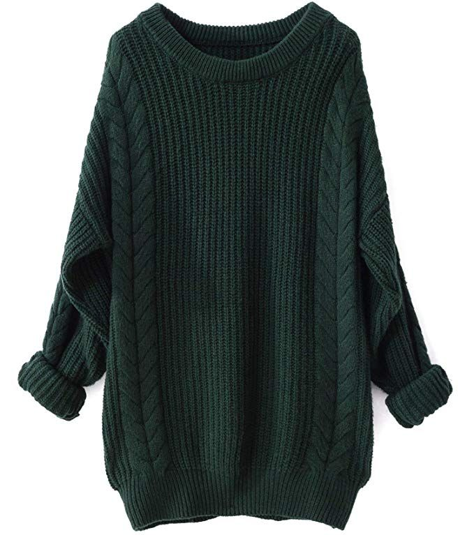 d68dbf1bc25 Liny Xin Women s Cashmere Oversized Loose Knitted Crew Neck Long Sleeve  Winter Warm Wool Pullover Long Sweater Dresses Tops (Green)