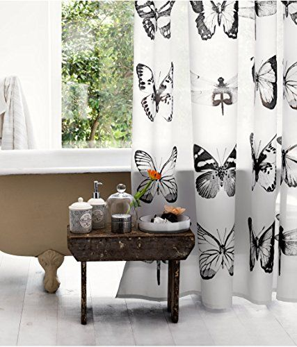 Water Repellent Fabric Shower Curtain Butterfly And Dragonfly