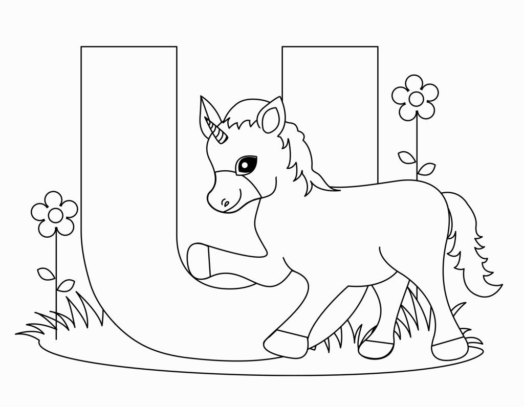 U Coloring Pages Unicorn Coloring Pages Coloring Letters Alphabet Coloring Pages