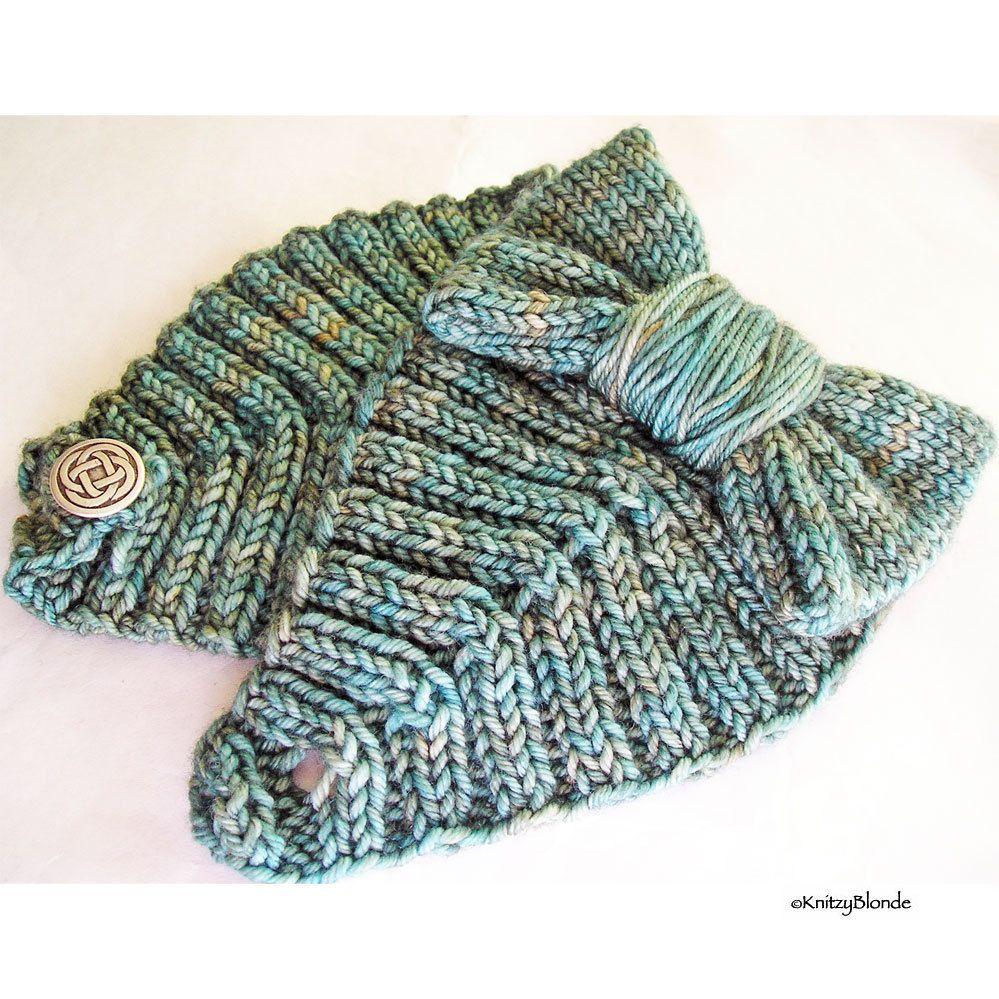 Hand Knit Bow Headband, Cashmere Merino Wool, Celtic Knot Button ...