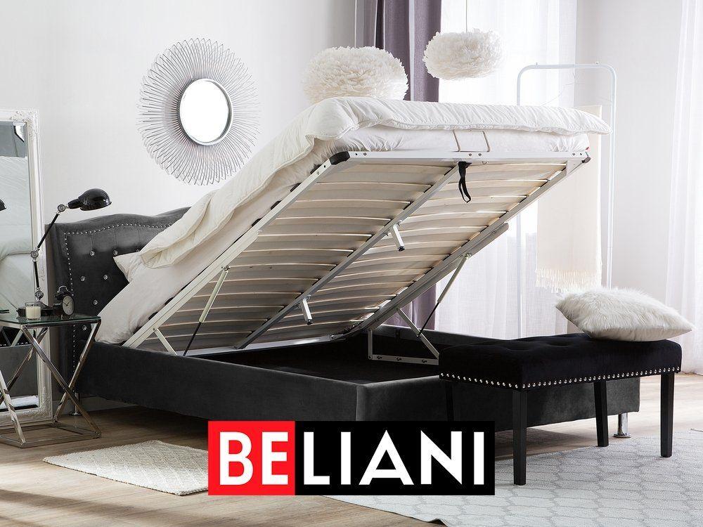 Photo of Elegantes Doppelbett in Dunkelgrau mit Lattenrost und praktischen Bettkasten