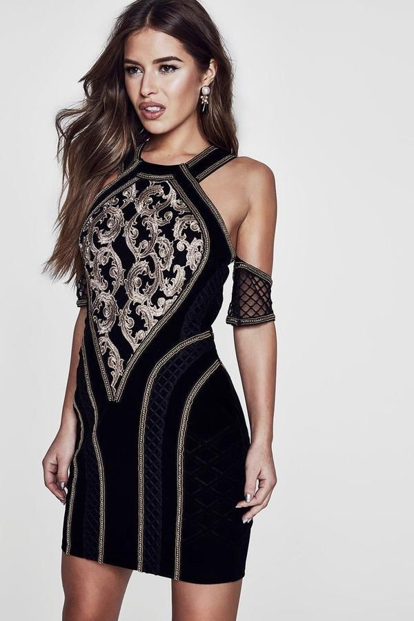 boohoo Premium Petite Bronte Velvet And Brocaide Dress  eda0854a1