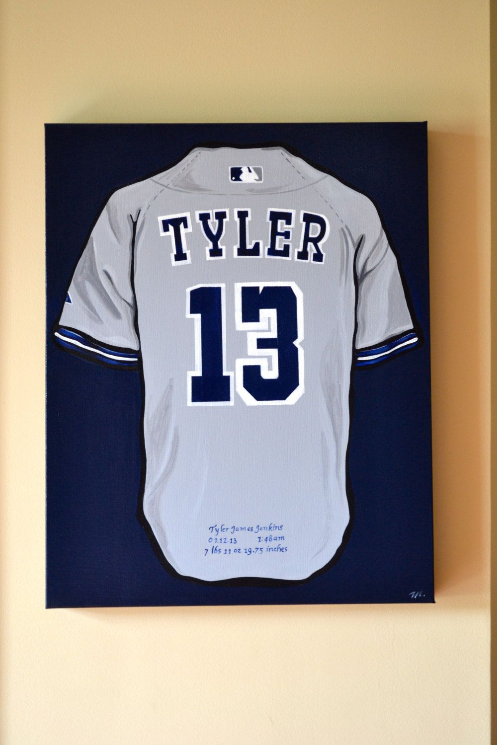 low priced ee009 2837f Baseball Jersey Art Yankee Team Painting Custom Personalized ...