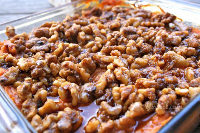 Spiced Walnuts over Sweet Potato Casserole