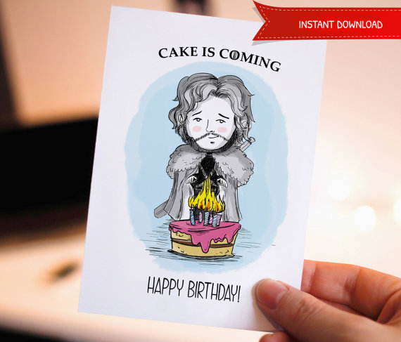 Funny Happy Birthday Printable Card Game Of Thrones Jon Cute