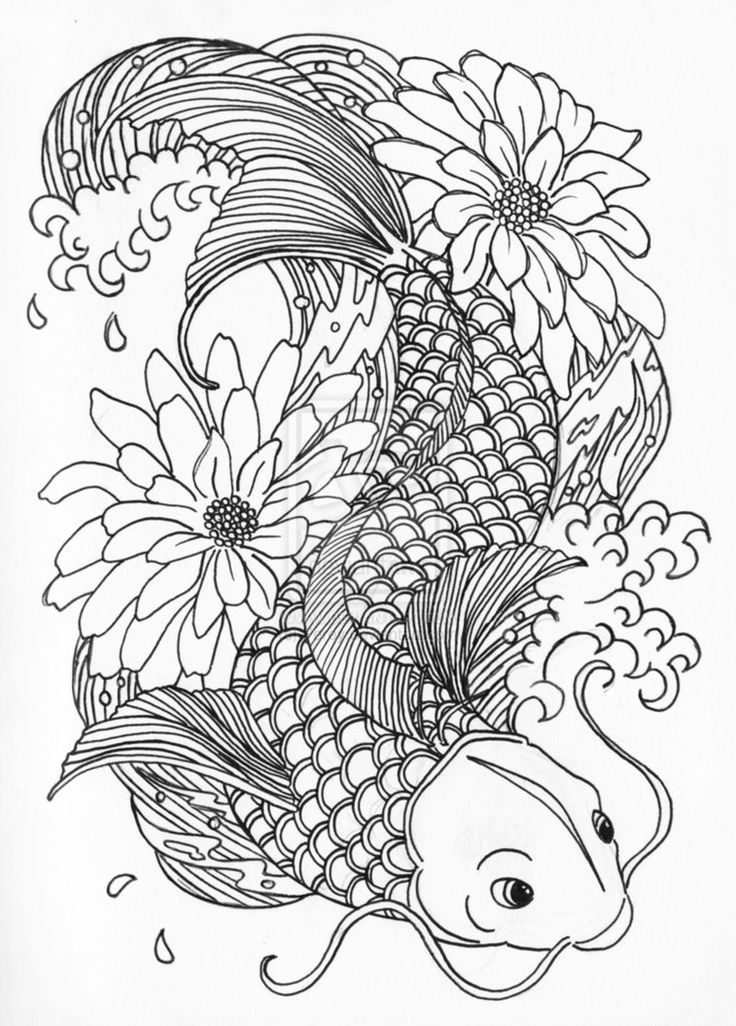 Drawn koi carp coloring page Pencil and in color drawn koi ...