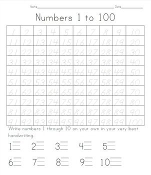 100 Days of School Tracing Numbers 1 to 100 Writing