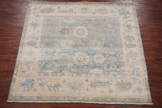 Blue 8x8 Square Oushak Area Rug Traditional Turkish Design With