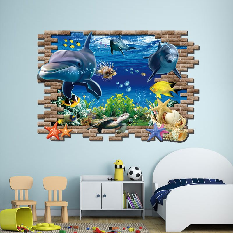 Undersea World Dolphins Wall Sticker Removable Under