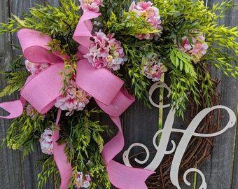 Photo of Spring / summer wreath, magnolia wreath, coral pink magnolia wreath for spring and summer