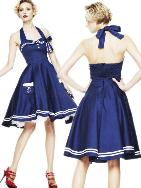 2cf0f9d151f Hell Bunny Motley 50 s Nautircal Swing Dress in Navy
