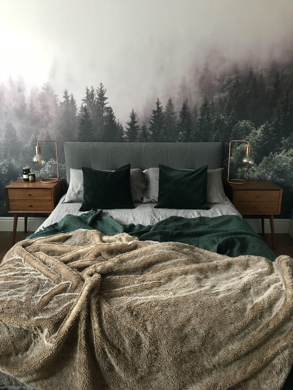 From Boring Beige To Forest Chic Master Bedroom Before And After Slaapkamerideeen Mannelijk Appartement Slaapkamerdesigns