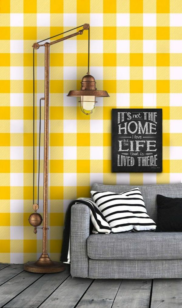karromuster gelbe tepeten mustertapeten wohnzimmer wandgestaltung - retro tapete wohnzimmer
