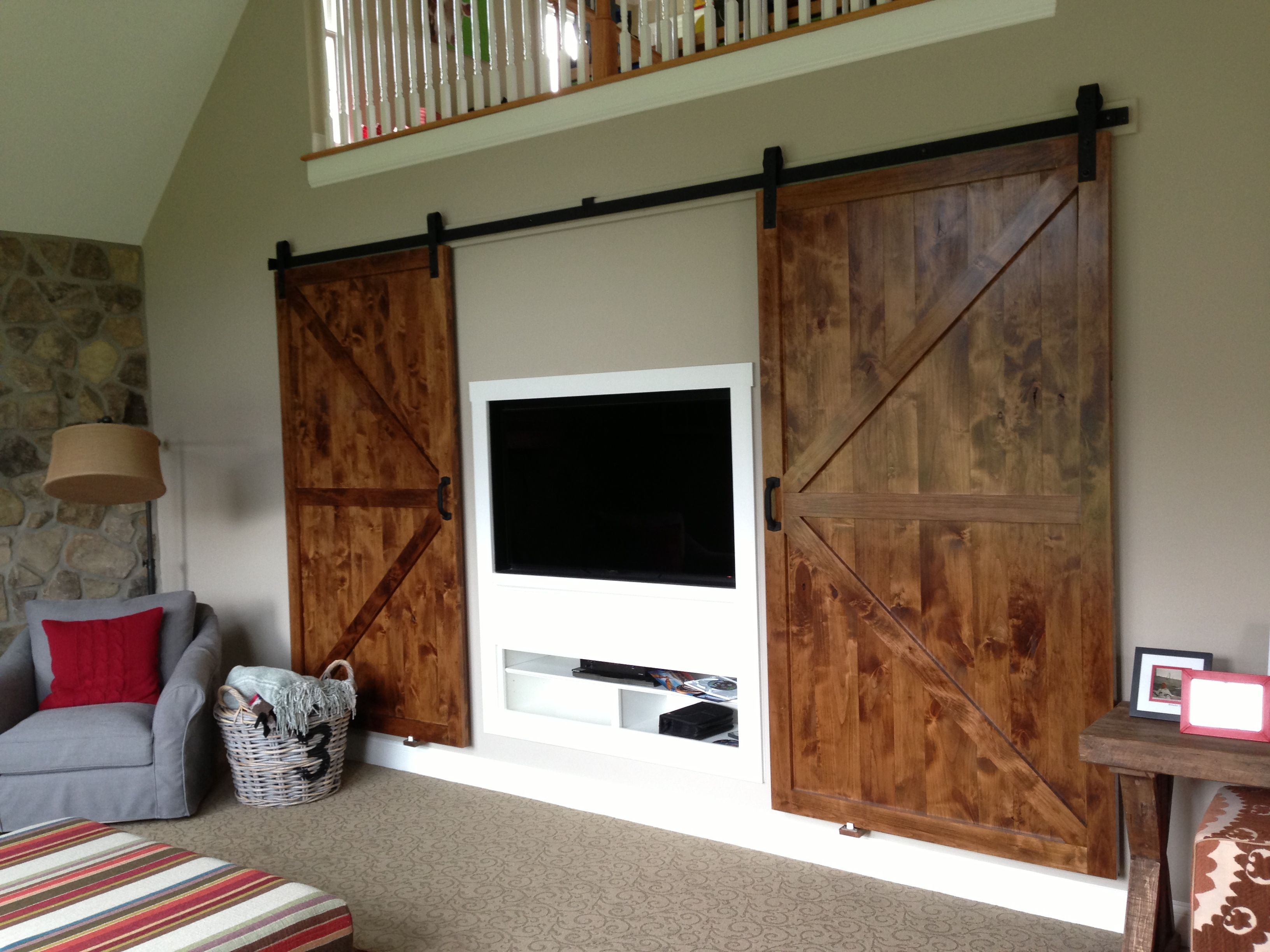Custom Recessed Tv Center With Custom Barn Doors