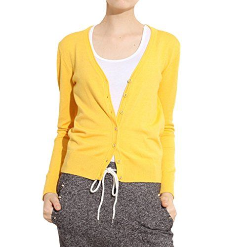 Cekaso Women's Cotton Cardigan Classic Button Up Long Sleeve V ...