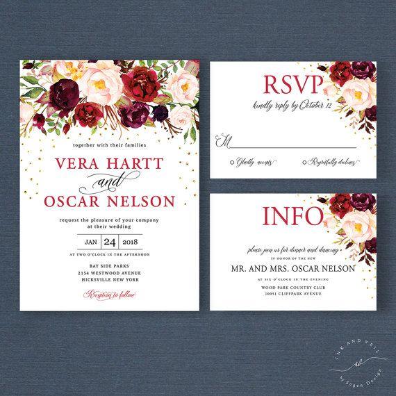 Rustic Burgundy Purple Floral Script Wedding Invitations: Fall Floral Boho Wedding Invitation Suite, Marsala