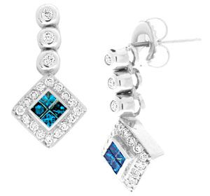 Add some Shine to your Ears with these Invisibly Set Blue Diamonds Surrounded by White Diamonds set in Luxurious 18k White Gold.
