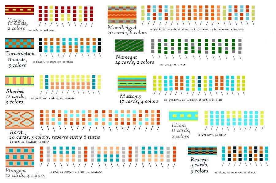Tablet Weaving Patterns By Eqos Patrones De Tejido Patrones