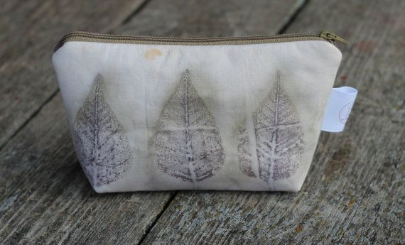 Three Leaves Eco Print Makeup Bag Eco-friendly Pouch by JSsewing