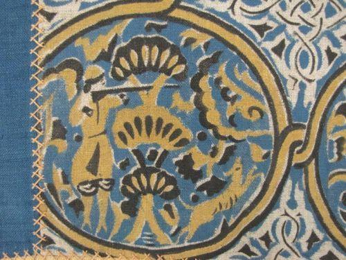 Antique-English-tablecloth-Medieval-Celtic-design-linen-blue-painted-block-print
