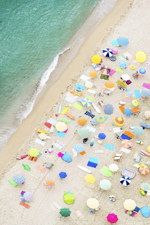 Neon Umbrellas, Vertical Gray Malin Beach, Beach
