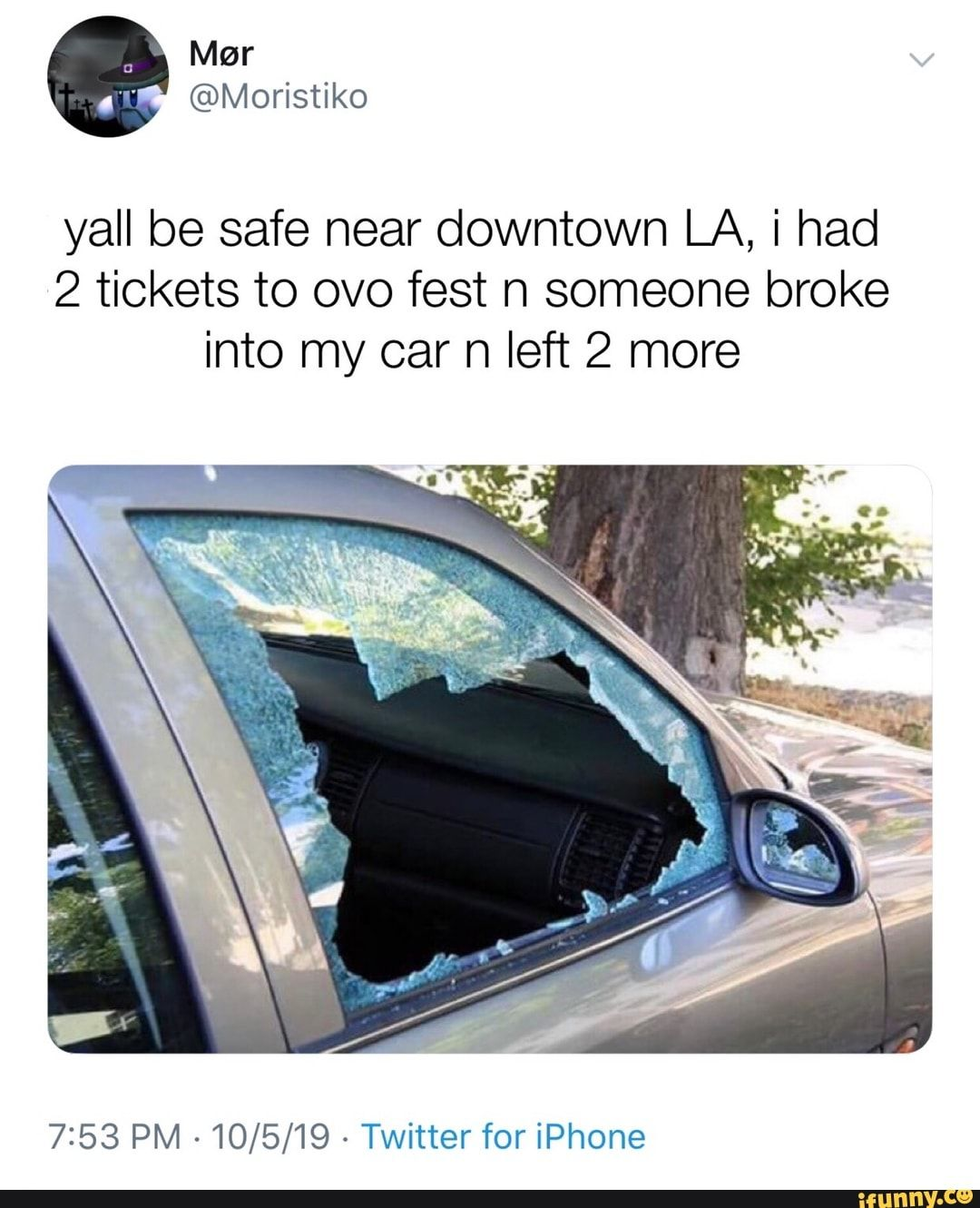 Yall Be Safe Near Downtown La I Had 2 Tickets To Ovo Fest N Someone Broke Into My Car N Left 2 More 7 53 Pm 10 5 19 Twitter For Iphone