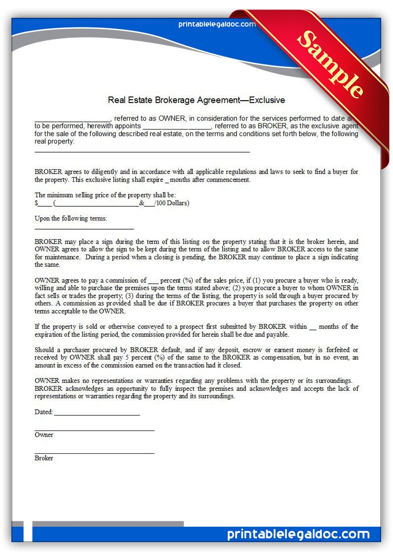 Free Printable Real Estate Brokerage Agreement Exclusive  Sample