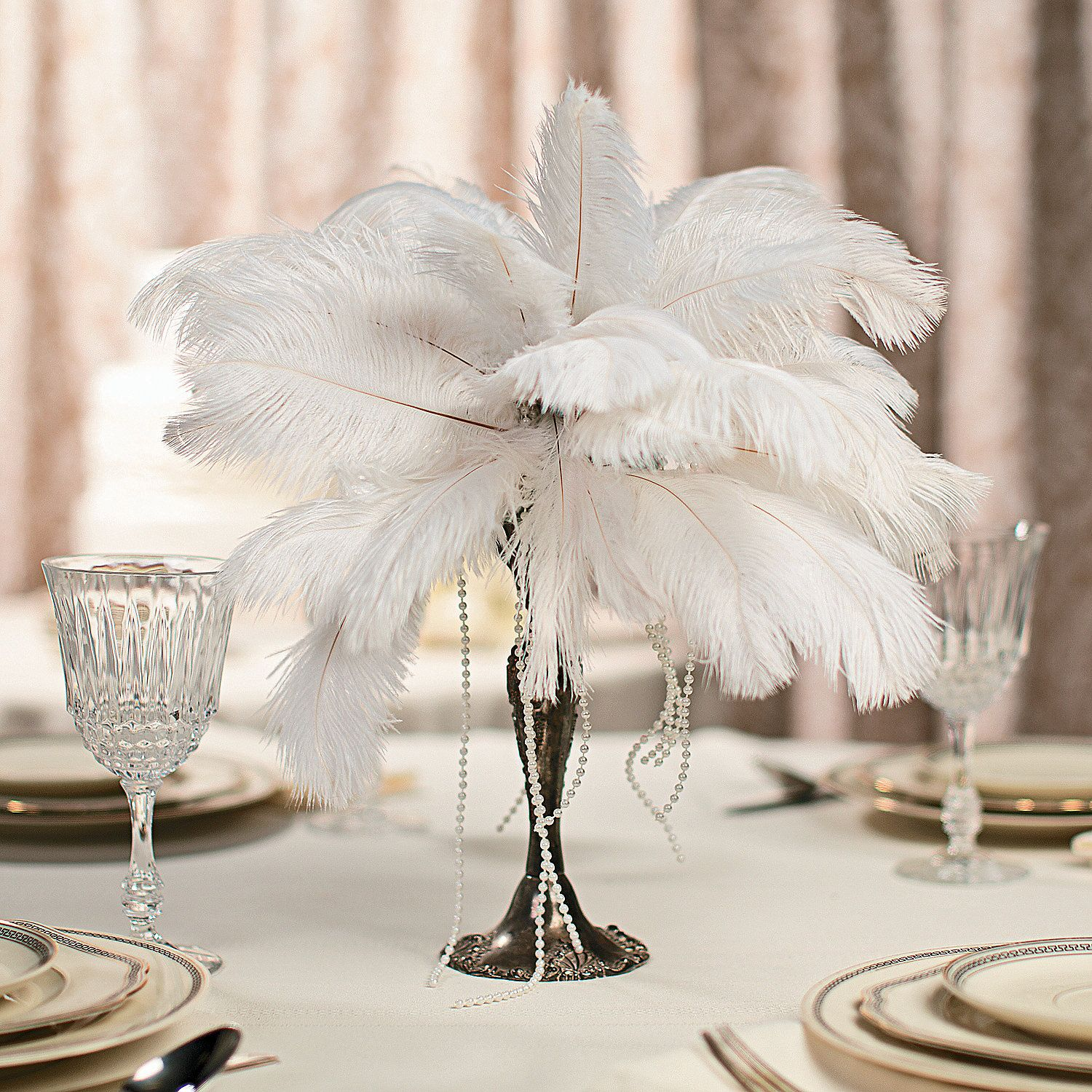 Feather Centerpiece Wedding : Nye gatsby art deco speakeasy prohibition moonshine