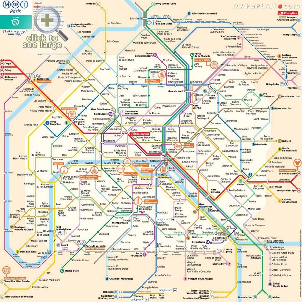 Paris map Metro plan RER rapid transport tram subway
