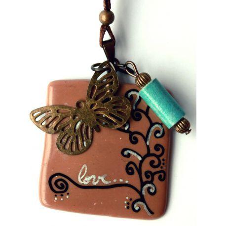 collier papillon - bijou en céramique froide