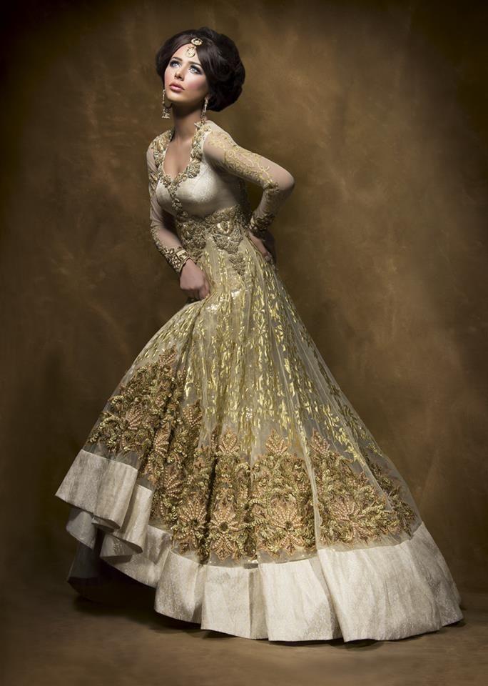 84dde49d67 gold Anarkali - Outfit #desi #indian #fashion #pakistani #southasian # wedding. beautifulsouthasianbrides: Ayyan Ali for BIBI London ...
