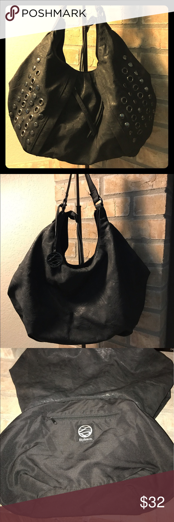 Uncategorized Leather Like Material black hobo bag like new condition super cute two front pockets gently used