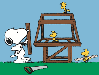 Snoopy woodstock building a new house phyllis - Charlie brown bilder ...