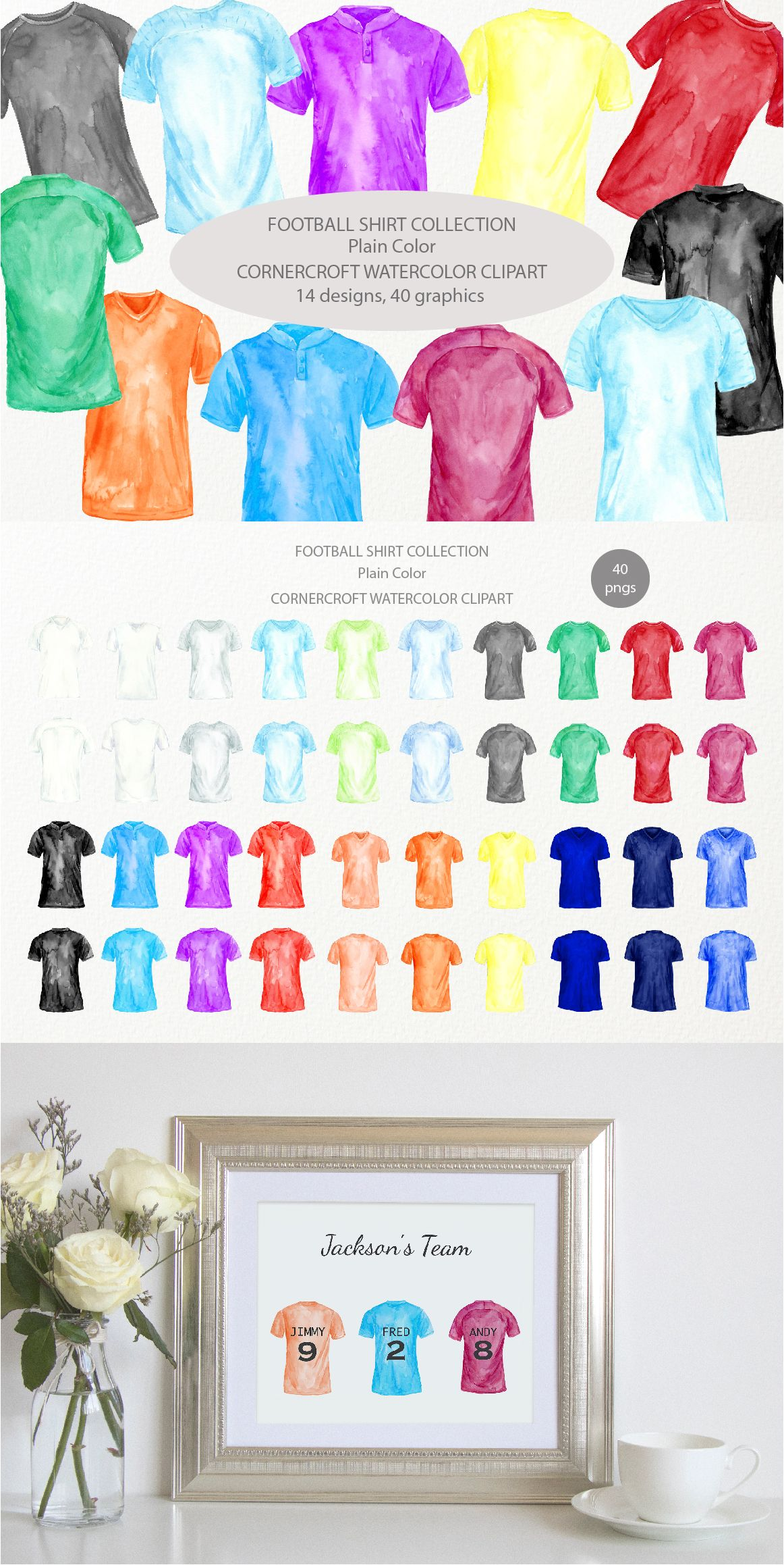 Watercolor Football Shirts In Plain Color Soccer Shirt