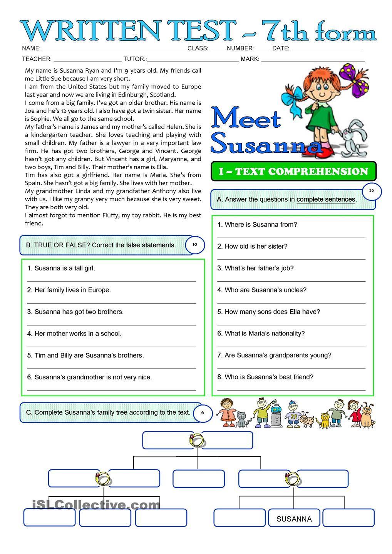 SUSANNAS FAMILY - 3 page TEST - 7th grade   ESL   Pinterest ...