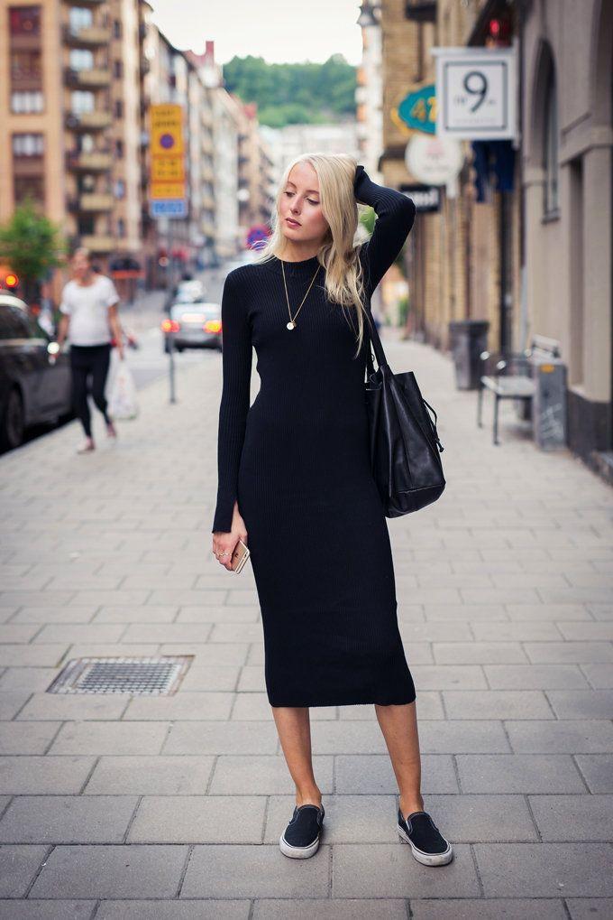 2edc1248d40ff9 Ellen claesson - black knit long sleeve midi dress | Street Stylers ...