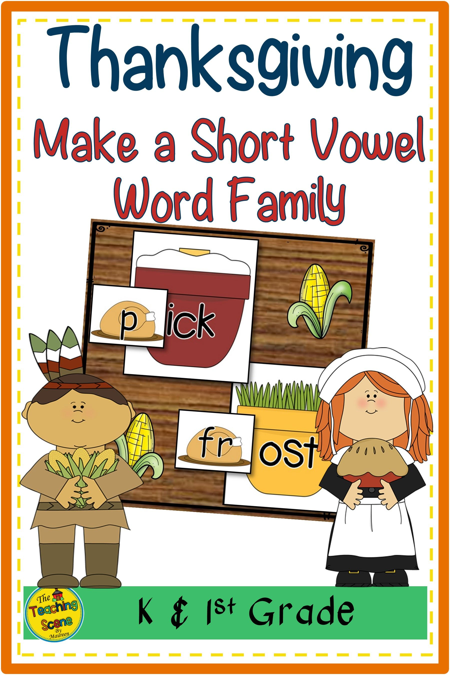 Thanksgiving Make A Short Vowel Word Family Center In