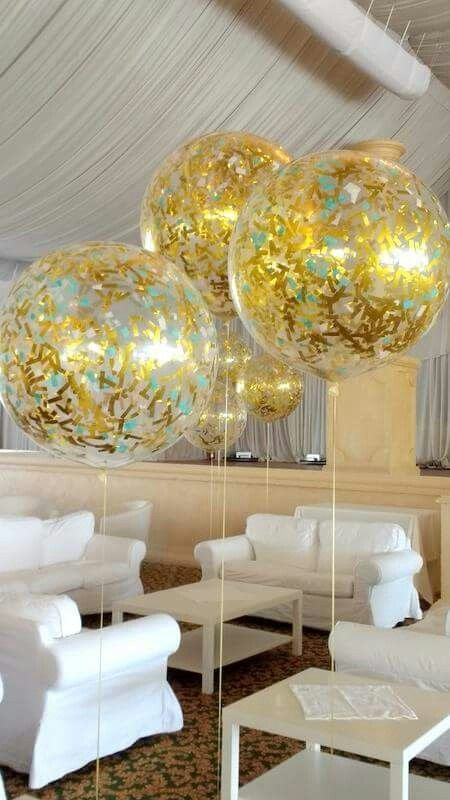 Elegant clear large balloons with gold confetti wedding
