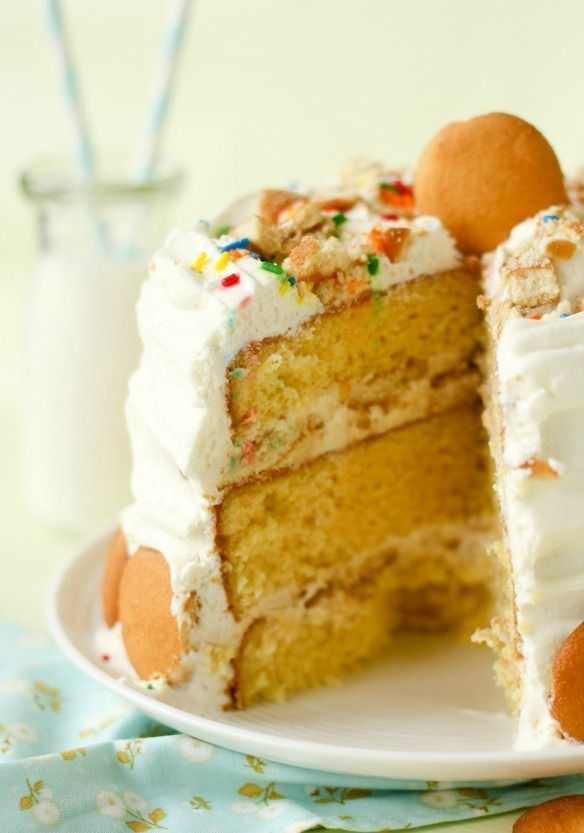 banana pudding layer cake -- three layers of cake stuffed with the