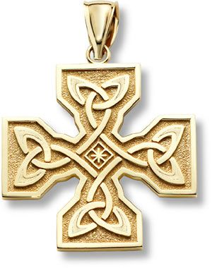 ApplesofGoldcom Celtic Cross Pendant 14K Gold ANTIQUE
